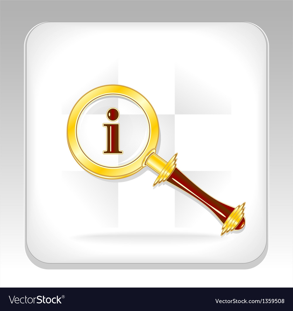 Gold magnifier icon or button for search info vector | Price: 3 Credit (USD $3)