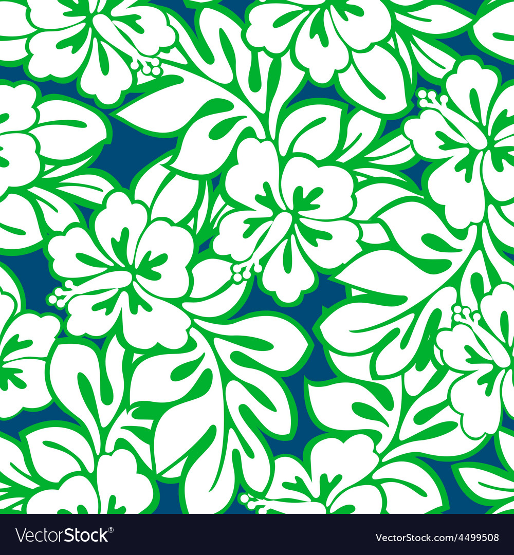 Hibiscus tropical leaves in a seamless pattern vector | Price: 1 Credit (USD $1)