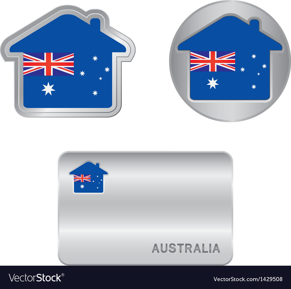 Home icon on the australia flag vector | Price: 1 Credit (USD $1)