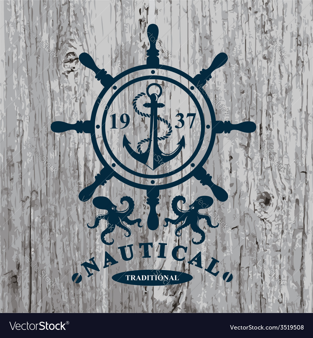 T-shirt design nautical marine badge design vector | Price: 1 Credit (USD $1)