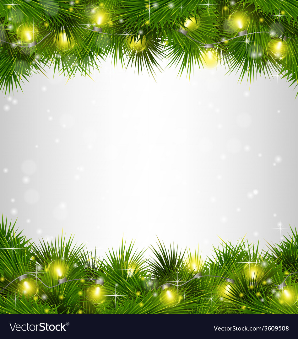Yellow christmas lights on pine branches on vector | Price: 1 Credit (USD $1)
