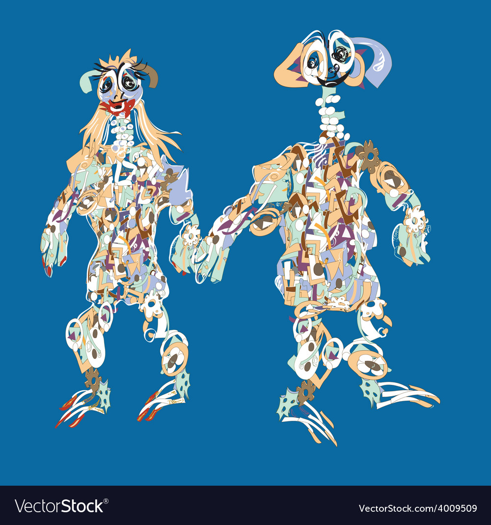 Alien couple vector | Price: 1 Credit (USD $1)
