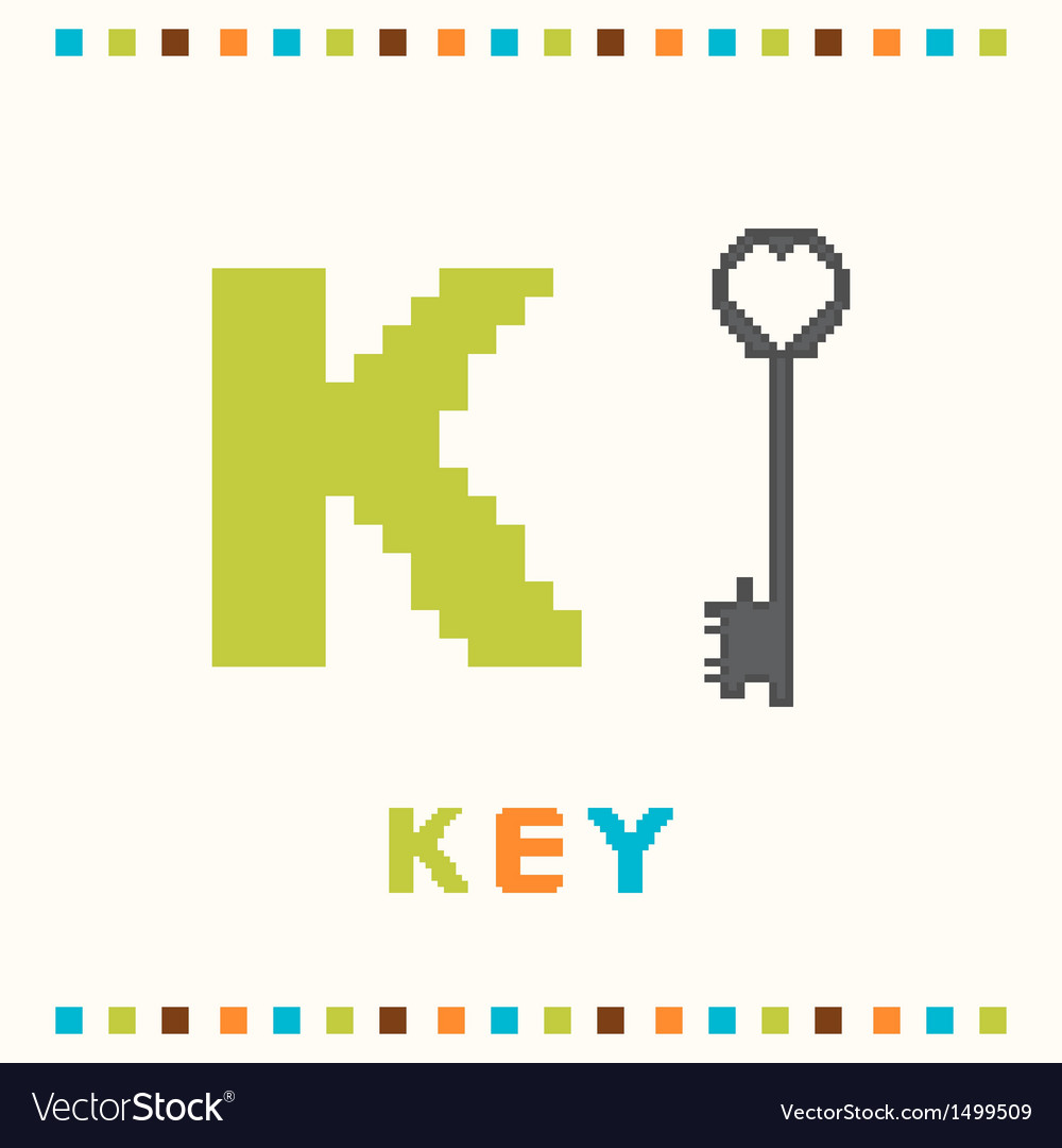 Alphabet for children letter k and a key vector | Price: 1 Credit (USD $1)