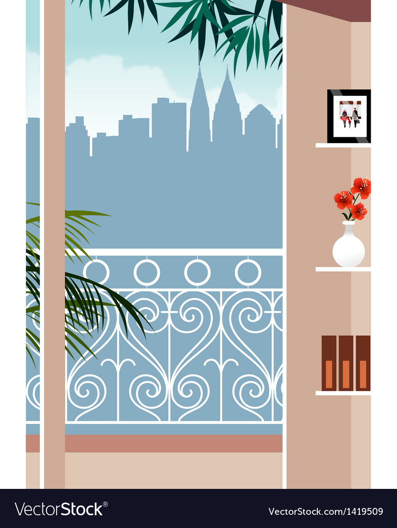 Balcony skyscape view vector | Price: 1 Credit (USD $1)