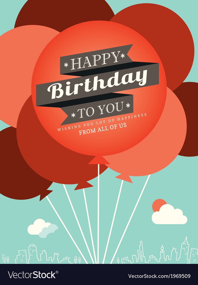 Birthday card design template vector | Price: 1 Credit (USD $1)