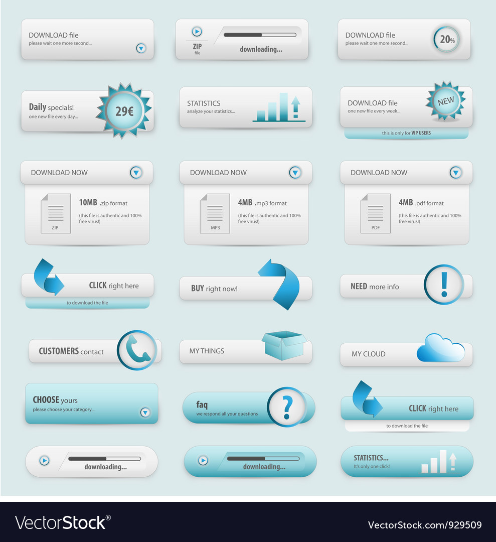 Blue business buttons vector | Price: 1 Credit (USD $1)