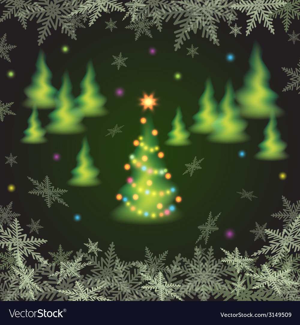 Christmas fir trees and snowflakes vector | Price: 1 Credit (USD $1)