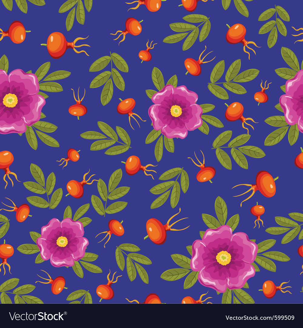 Dogrose seamless pattern vector | Price: 1 Credit (USD $1)