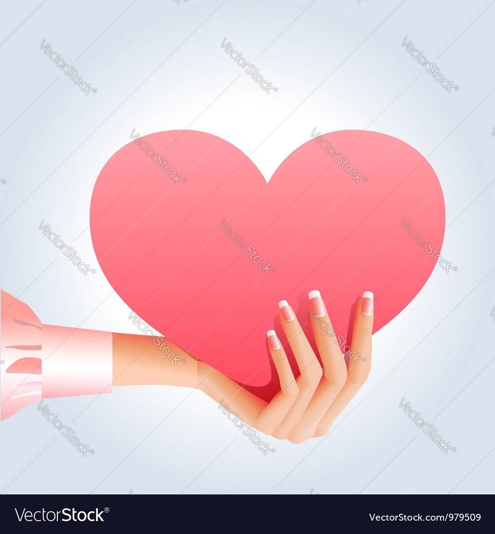 Female hand holding pink heart vector | Price:  Credit (USD $)