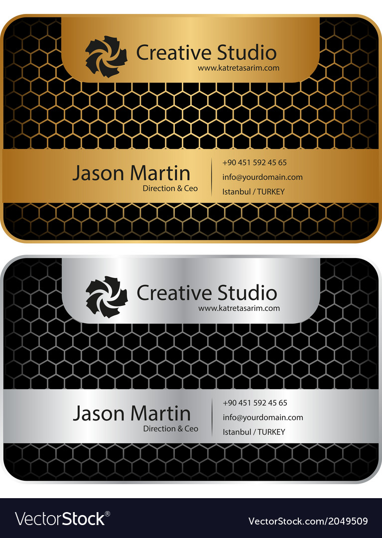 Golden silver honeycomb business card vector | Price: 1 Credit (USD $1)