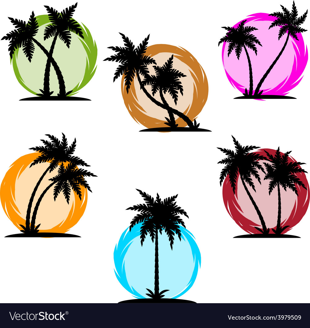 Palm silhouette color set vector | Price: 1 Credit (USD $1)