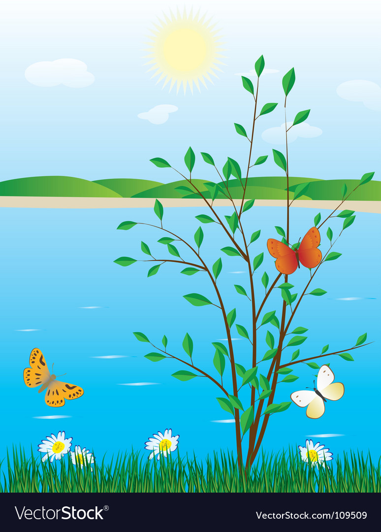River scene vector | Price: 1 Credit (USD $1)