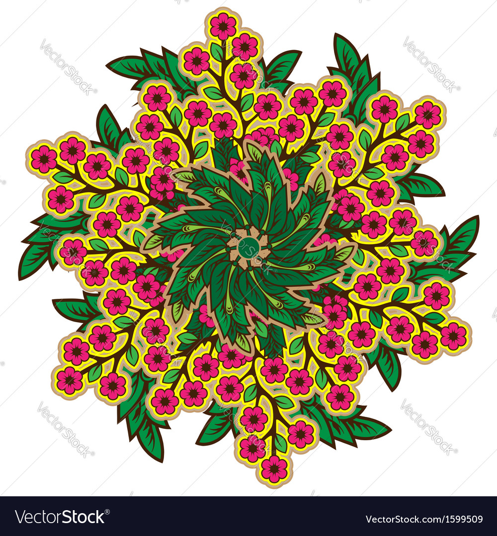 Rustic radial floral ornament vector | Price: 1 Credit (USD $1)
