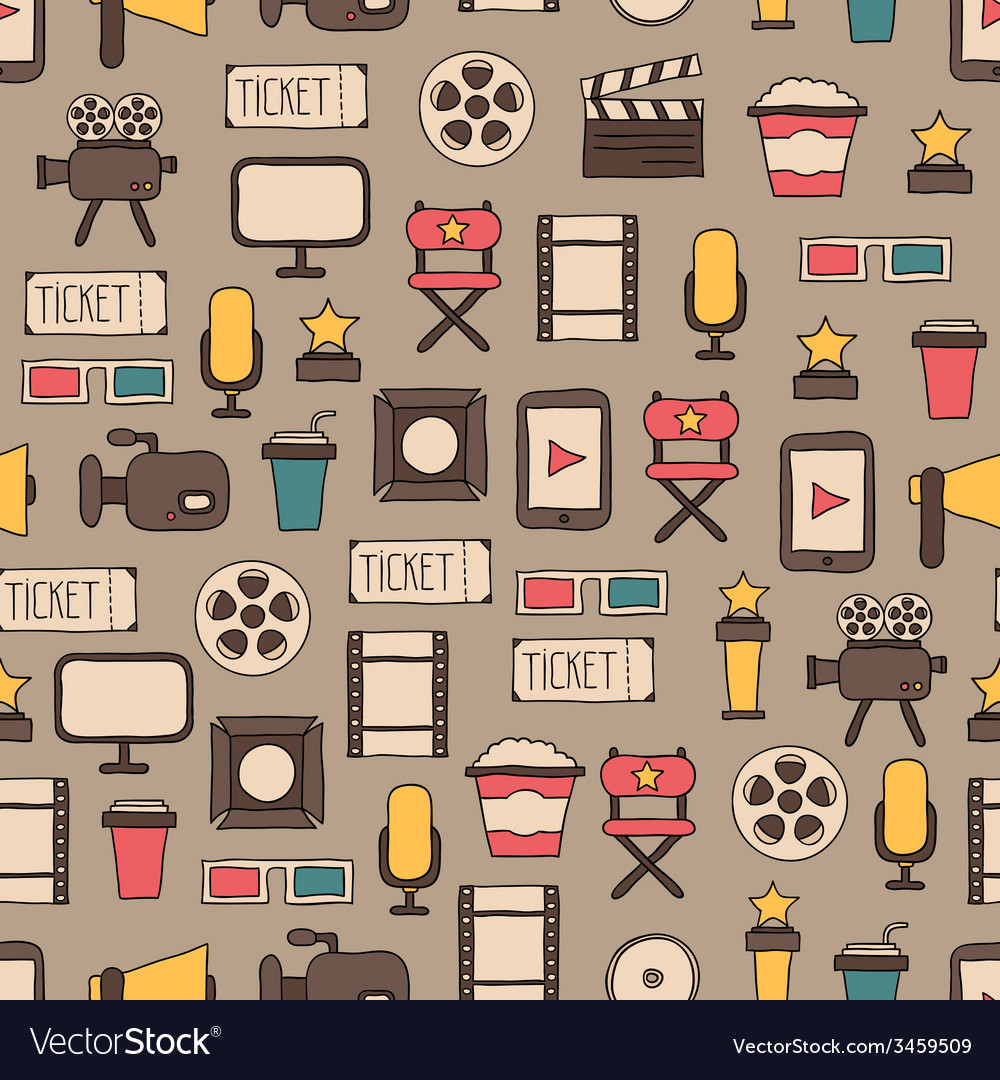 Seamless pattern of doodle colorful movie design vector | Price: 1 Credit (USD $1)