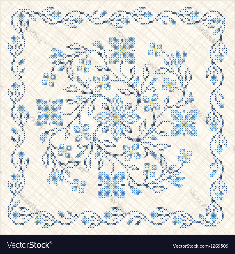 Traditional ukrainian cross-stitch embroidery vector | Price: 1 Credit (USD $1)
