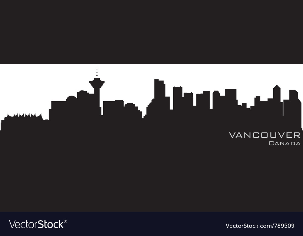 Vancouver canada skyline detailed silhouette vector | Price: 1 Credit (USD $1)