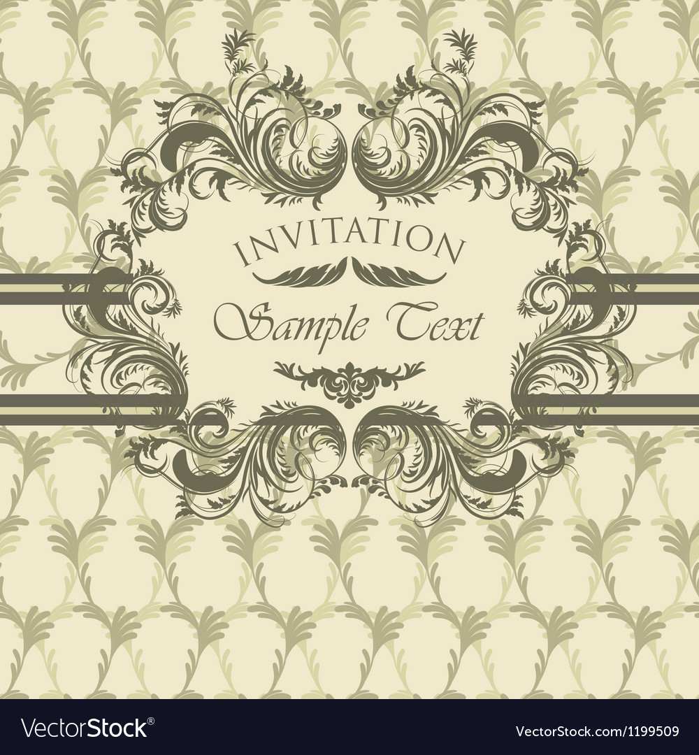 Vintage invitation card with calligraphic frame vector | Price: 1 Credit (USD $1)