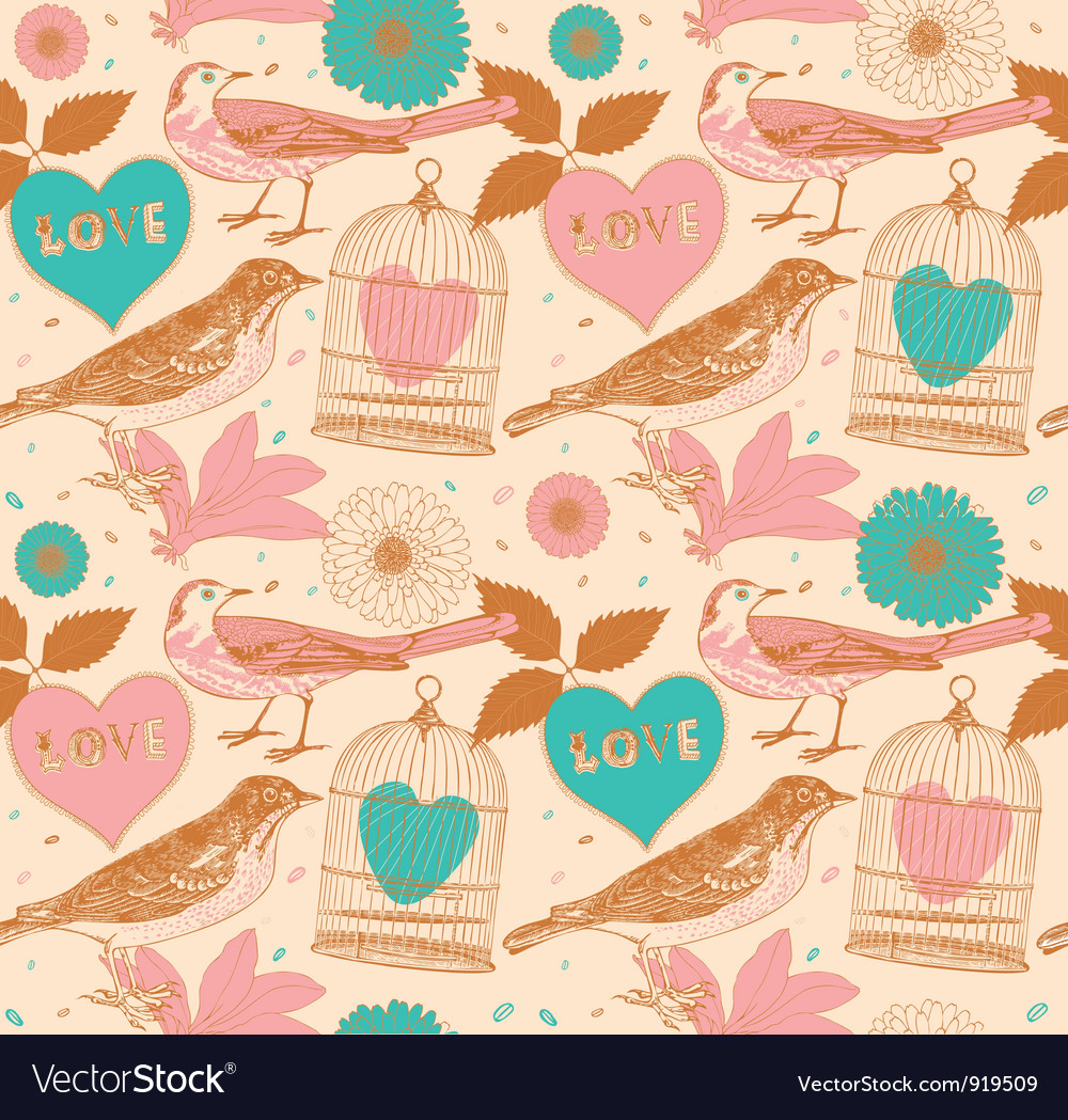 Vintage love birds pattern vector | Price: 1 Credit (USD $1)