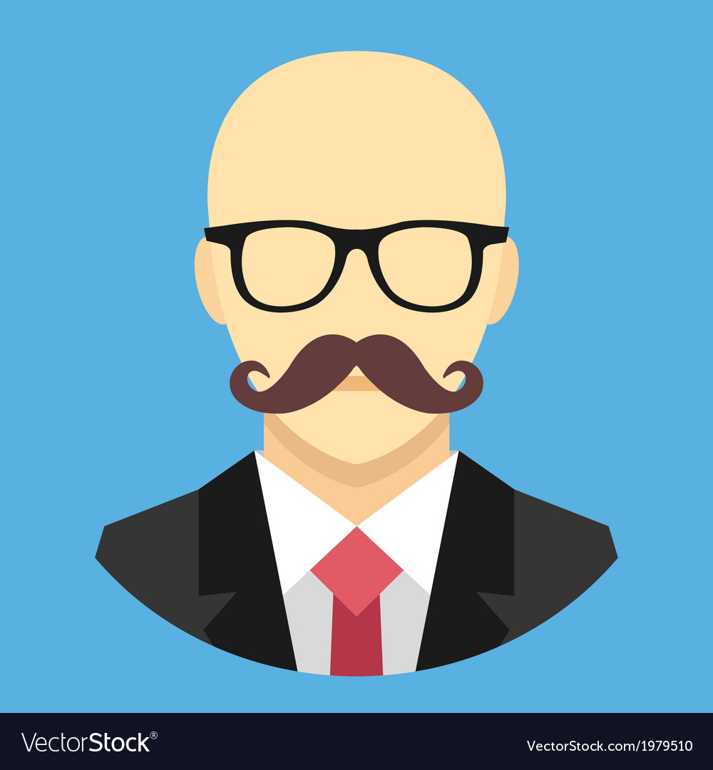 Bald man with mustache in business suit ico vector | Price: 1 Credit (USD $1)