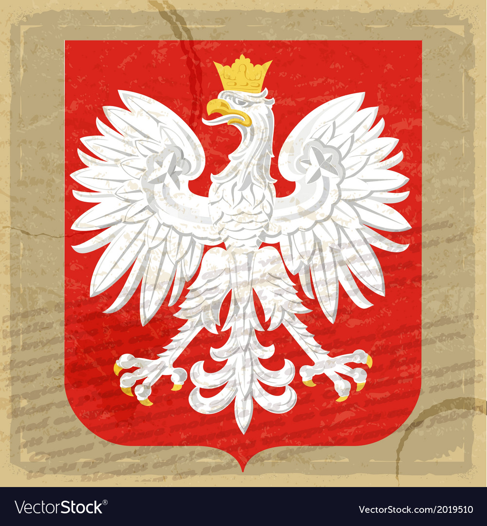 Coat of arms of poland on the old postage card vector | Price: 1 Credit (USD $1)