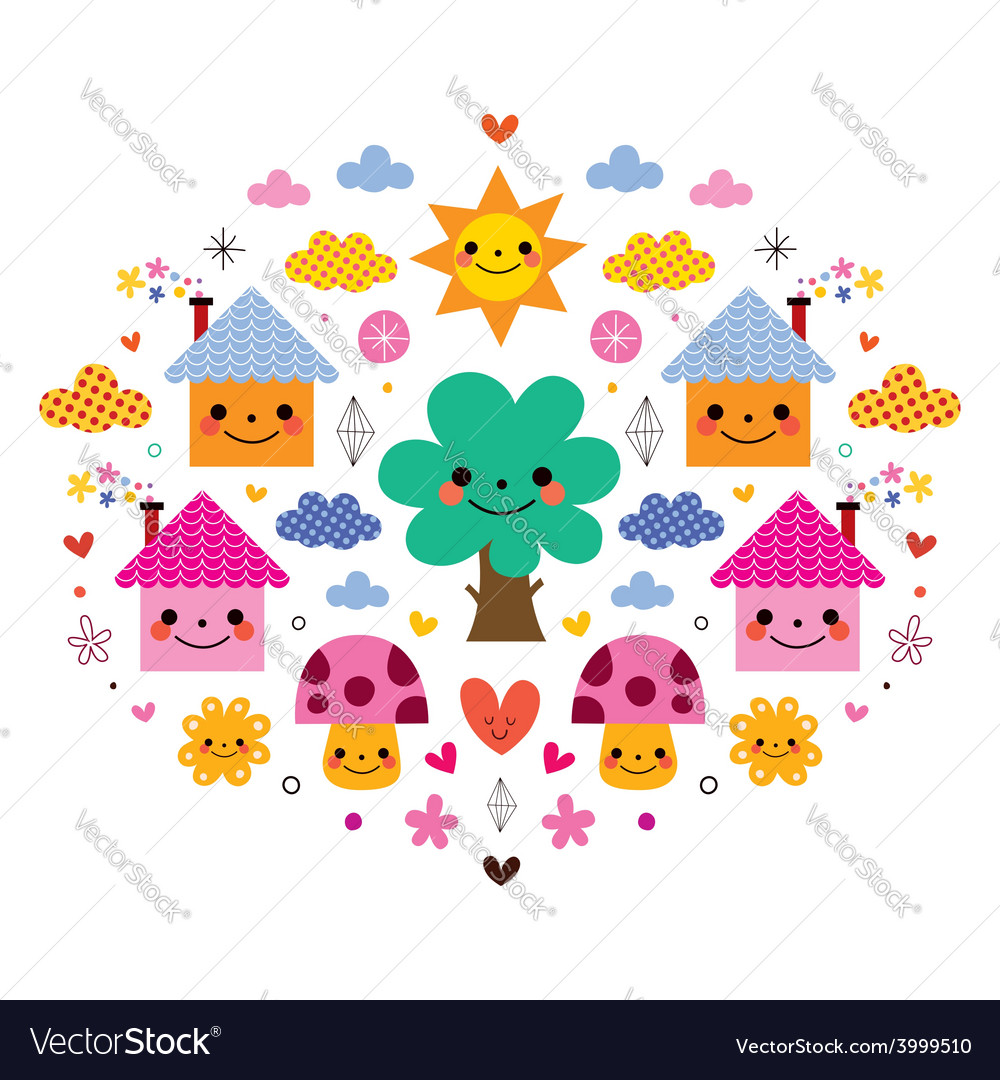 Cute houses tree sun mushrooms flowers and clouds vector   Price: 1 Credit (USD $1)