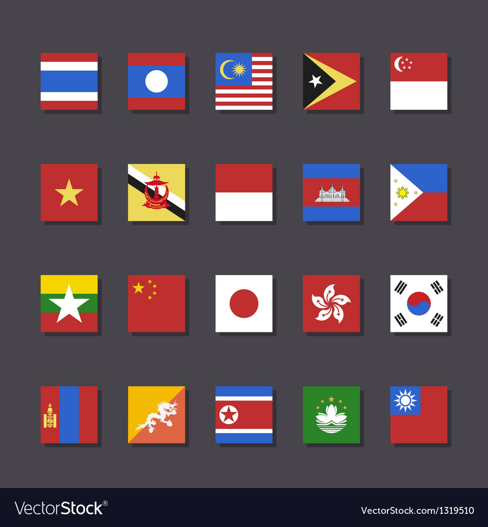 East asia flag icon set metro style vector | Price: 1 Credit (USD $1)