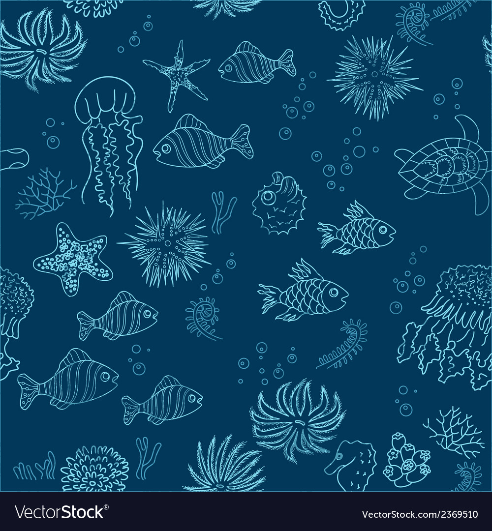 Hand drawn sea theme seamless background vector | Price: 1 Credit (USD $1)