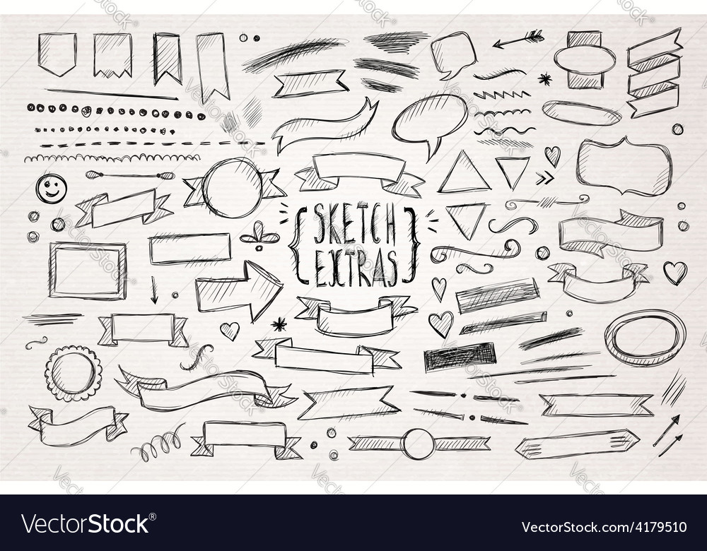 Hand drawn sketch elements vector | Price: 1 Credit (USD $1)