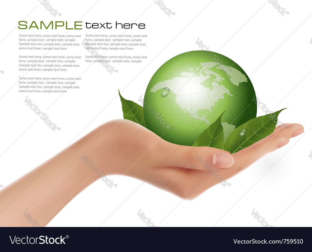 Human hand holding green globe vector | Price: 3 Credit (USD $3)