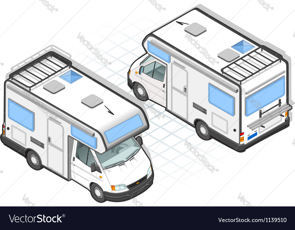 Isometric camper in two position vector | Price: 3 Credit (USD $3)