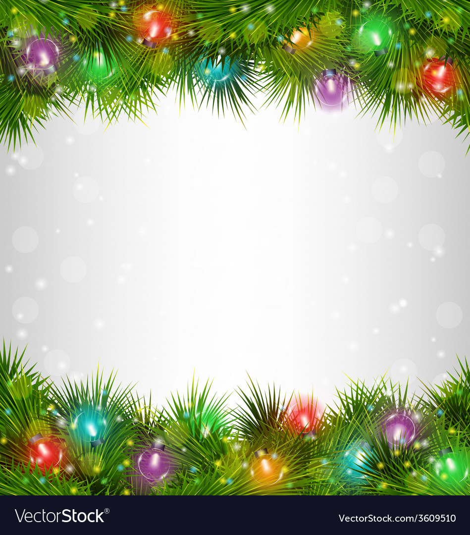 Multicolored christmas lights on pine branches on vector | Price: 1 Credit (USD $1)