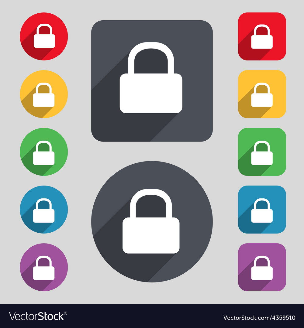 Pad lock icon sign a set of 12 colored buttons and vector | Price: 1 Credit (USD $1)