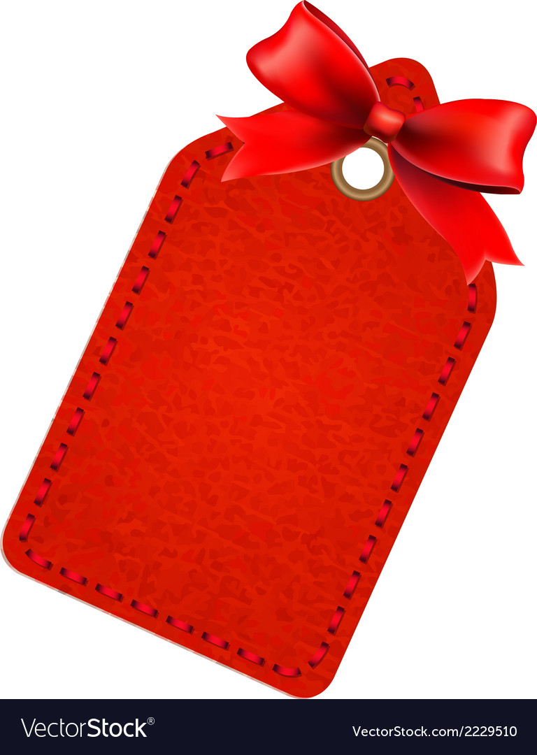 Red sale tag with red bow vector | Price: 1 Credit (USD $1)