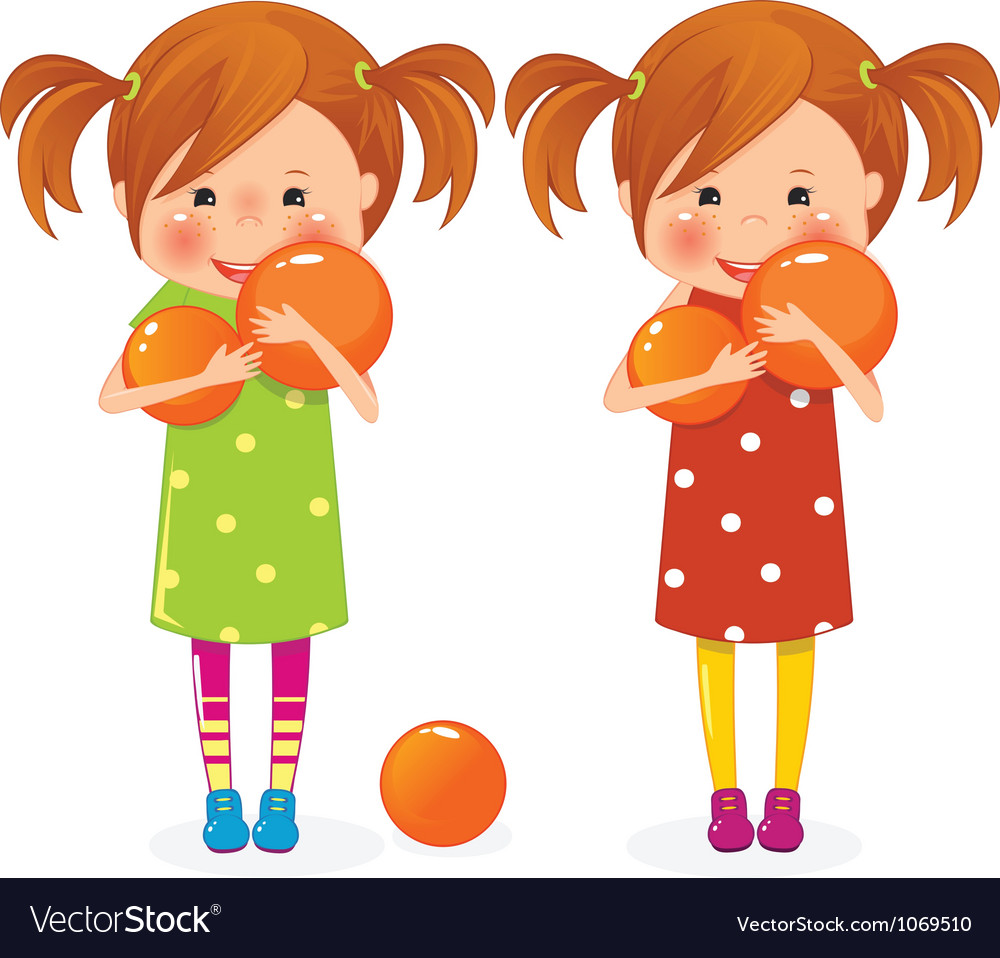 Two girls twins with balls vector | Price: 3 Credit (USD $3)