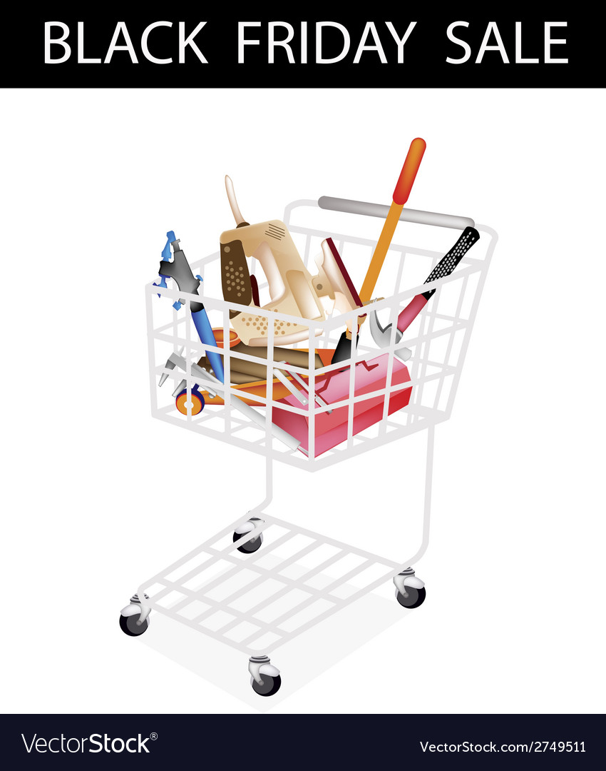 Auto repair tool kits black friday shopping cart vector | Price: 1 Credit (USD $1)
