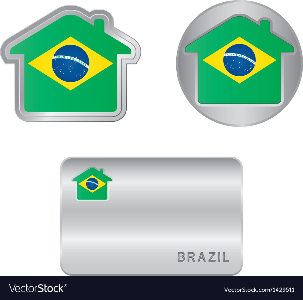 Home icon on the brazil flag vector | Price: 1 Credit (USD $1)