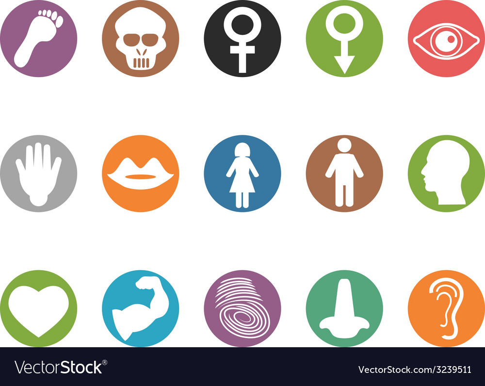 Human feature round buttons icons set vector | Price: 1 Credit (USD $1)