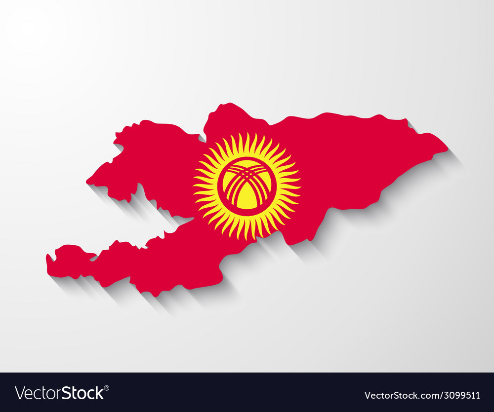 Kyrgyzstan country map with shadow effect vector | Price: 1 Credit (USD $1)