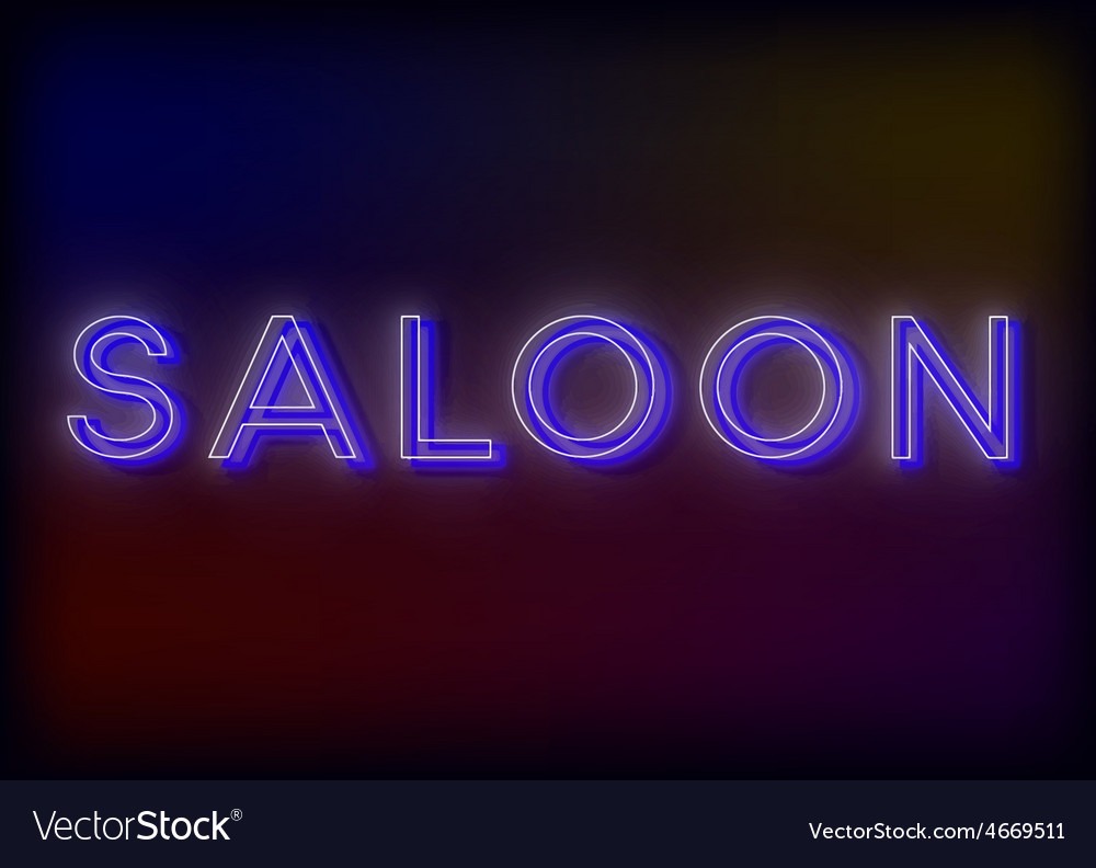 Neon saloon saloon neon sign design for your vector | Price: 1 Credit (USD $1)