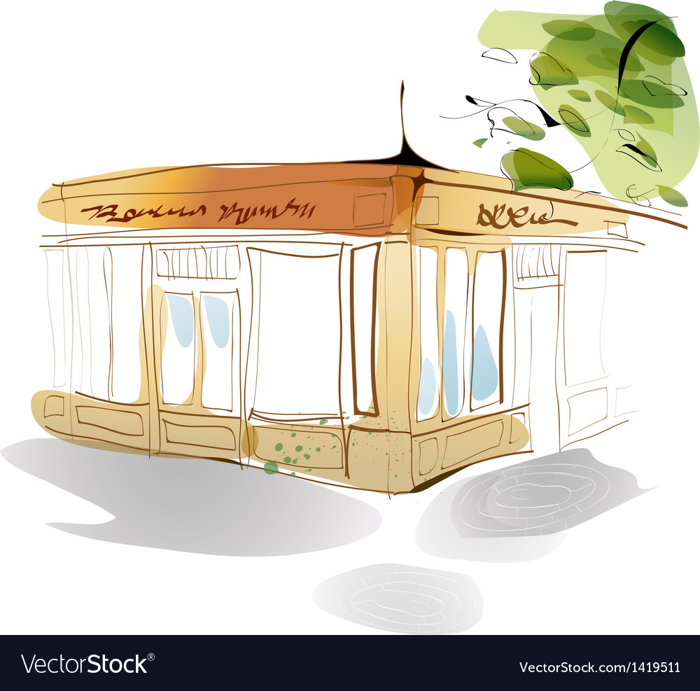 Restaurant shopfront sketch vector | Price: 1 Credit (USD $1)