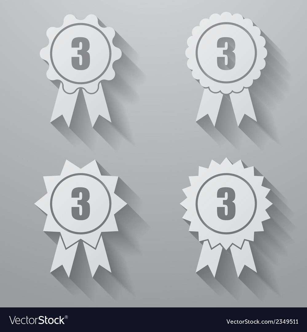 Set of badges with ribbons set of awards with vector | Price: 1 Credit (USD $1)