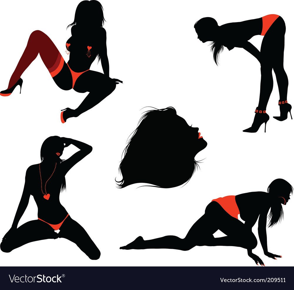 Sexy girl silhouettes vector | Price: 1 Credit (USD $1)
