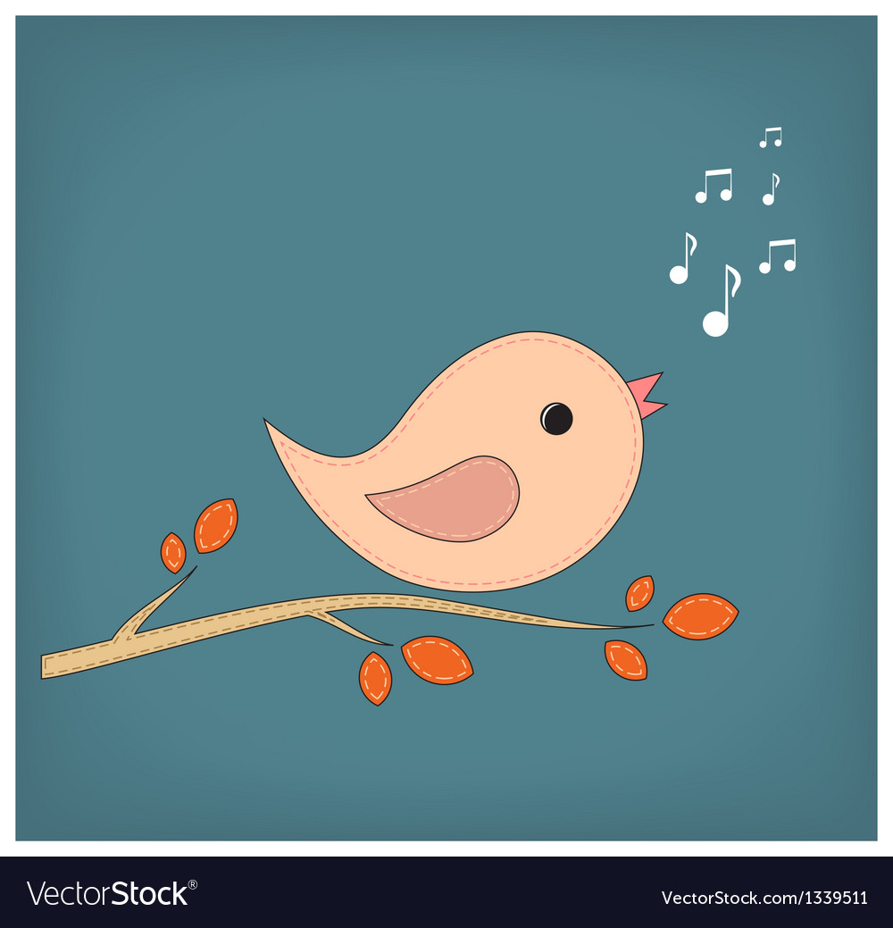 Simple card of funny cartoon bird on branch vector | Price: 1 Credit (USD $1)