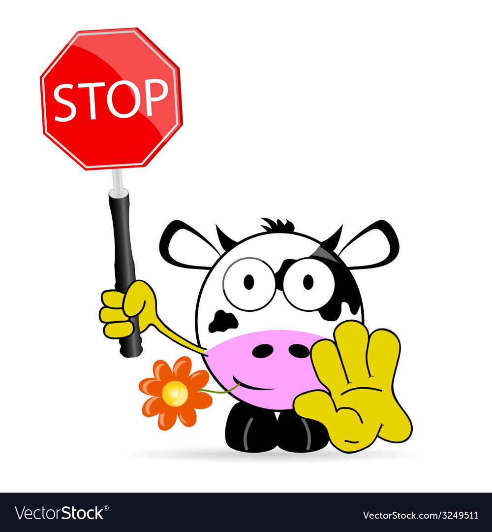 Sweet and cute cow with sign stop vector | Price: 1 Credit (USD $1)