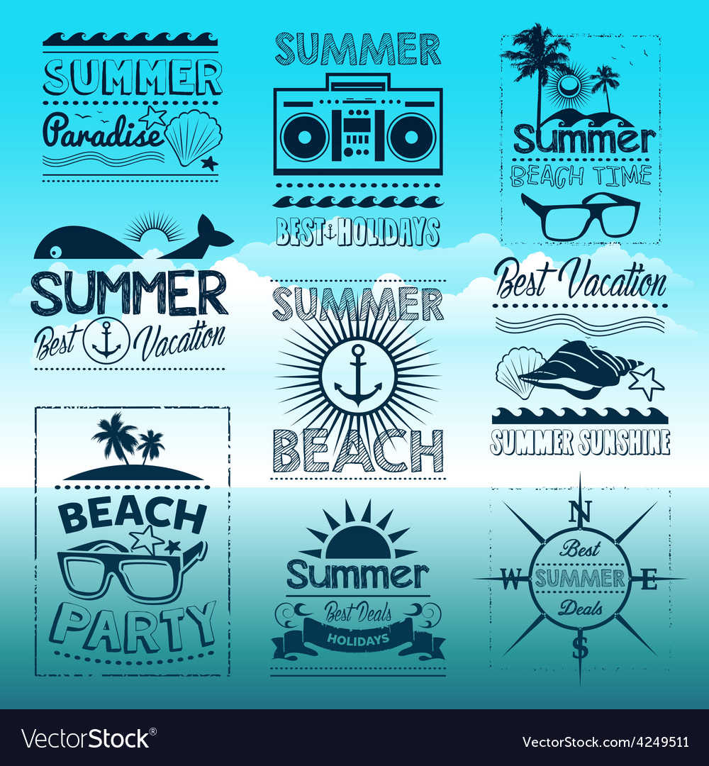 Vintage summer typography design with labels vector | Price: 1 Credit (USD $1)