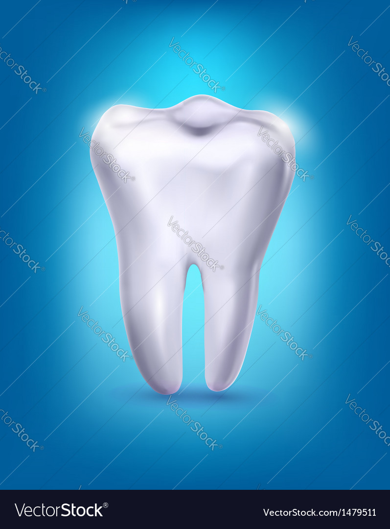 White tooth on a blue background vector | Price: 1 Credit (USD $1)