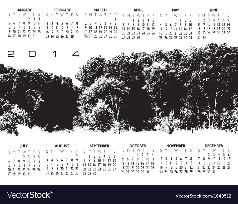 2014 woods calendar vector | Price: 1 Credit (USD $1)