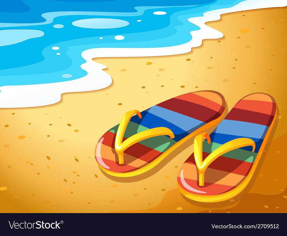 A pair of sandals at the beach vector | Price: 1 Credit (USD $1)