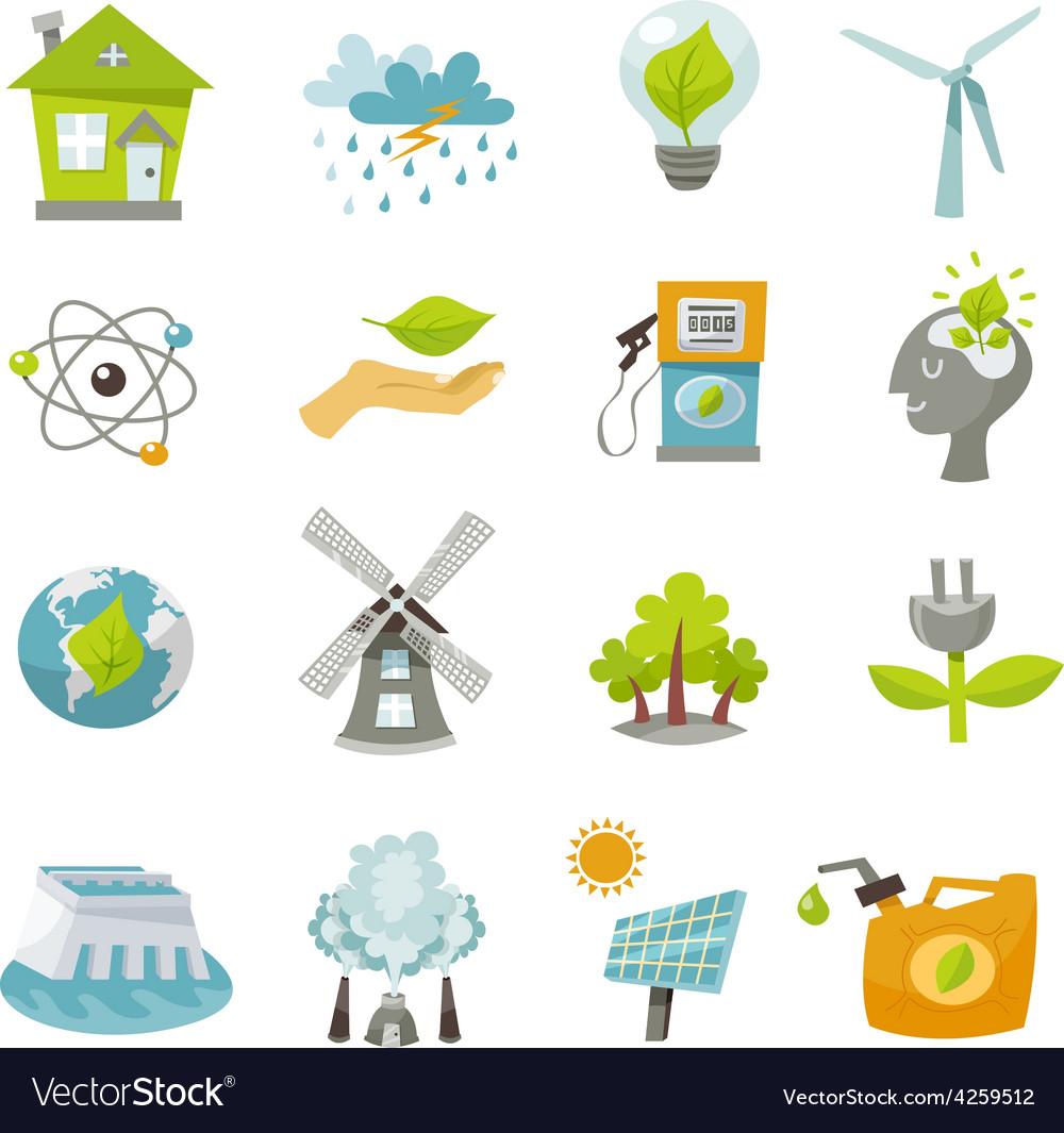 Eco energy icons flat vector   Price: 1 Credit (USD $1)