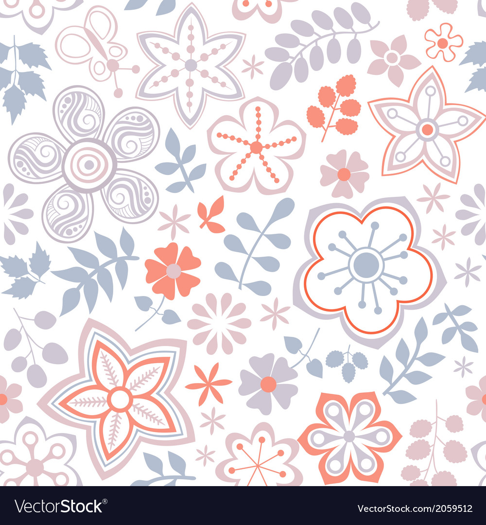 Floral endless pattern in pink ornate floral vector | Price: 1 Credit (USD $1)